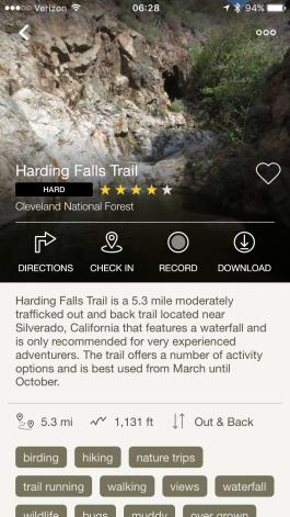 Die Beschreibung des Harding Fall Trails